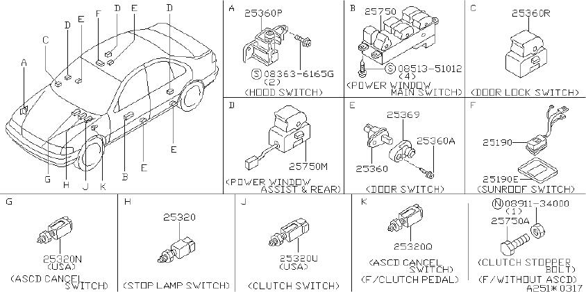 nissan sentra cruise control switch  ascd  instrument  body