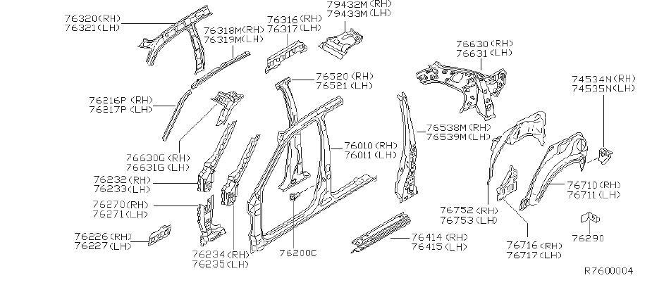 Nissan Sentra Rocker Panel Reinforcement  Left   Body