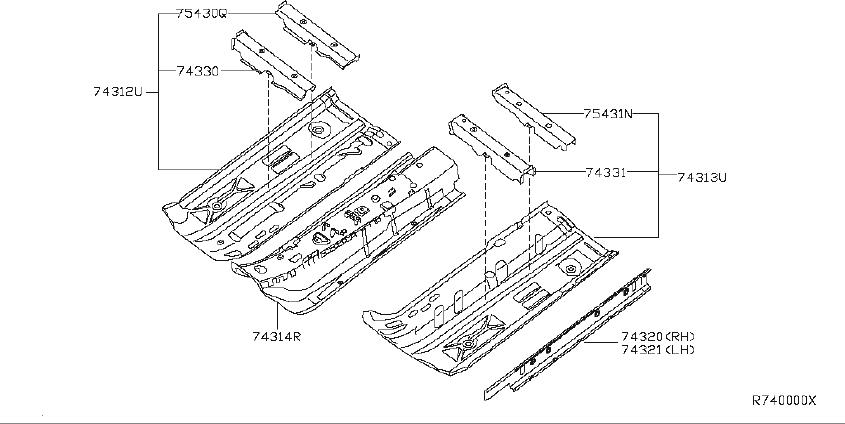 Nissan Sentra Floor Pan Crossmember  Front  Rear   Panel