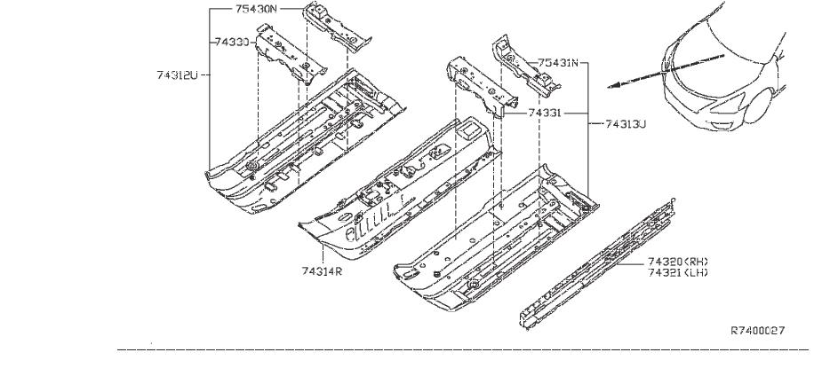Nissan Sentra Floor Pan Crossmember  Left   Panel