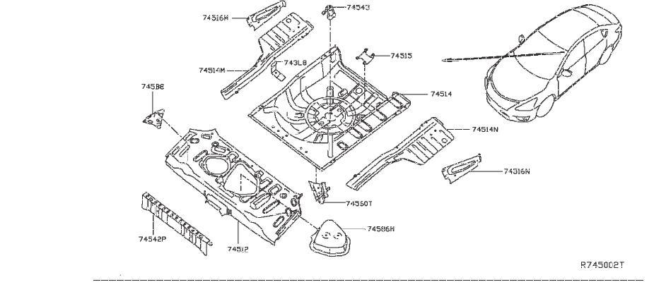 Nissan Sentra Floor Pan Crossmember  Rear  Upper   Panel