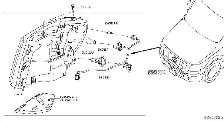nissan nv3500 headlight wiring harness  system  headlamp