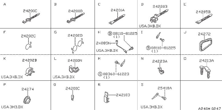 Nissan Pulsar Nx Clip Hose  Clip Wiring Harness  Vac  Fora
