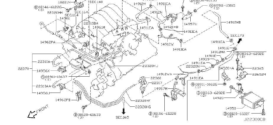 Nissan Pathfinder Vapor Canister Purge Solenoid  Hose  Fitting  Fuel