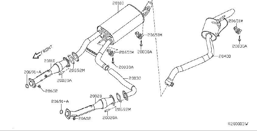 Nissan Pathfinder Tube Exhaust  Center  System  Muffler