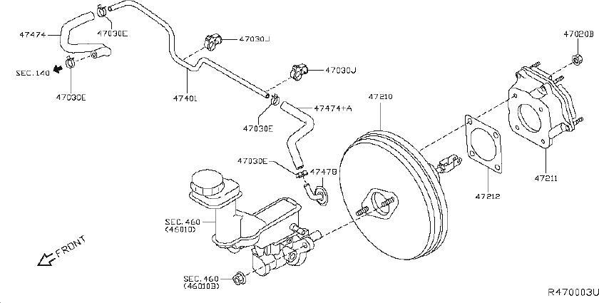 nissan rogue brake vacuum hose  servo