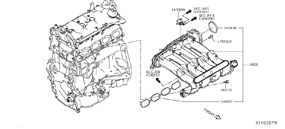 nissan rogue bracket ornament  engine  cover  intake