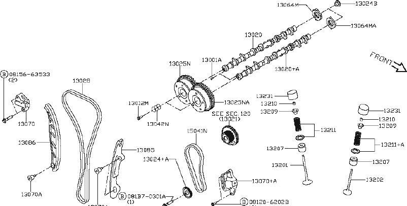 nissan rogue engine camshaft mechanism valve select QR25DE Crankshaft
