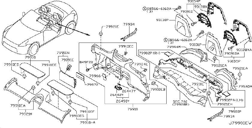Nissan 370Z Interior Quarter Panel Trim Panel (Rear ...